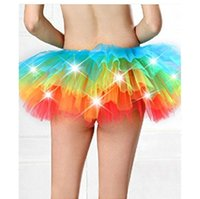 Wholesale Tutu Mini Skirts Solid Tulle Ball Gown Jupe Ruffles Elastic Skirts LED Dancing Light Mini Colorful Skirt