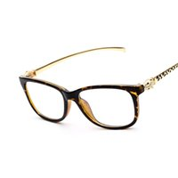 Cheap 2016 New Fashion Eye Glasses Frames For Unisex Plain Mirror Computer Goggles Optical Frame For Near Vision Eyewear Leopard Head
