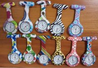 Wholesale New Hot Nurses Fob Watches Geometric Flowers Silicon Nurse Doctor Paramedic Tunic Brooch Fob Watch DHL