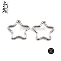 Wholesale Highly Polished G23 Titanium Body Jewelry of Titanium Star Earring
