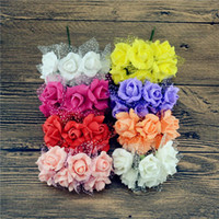 Wholesale 15 off cm PE Foam Pentagon Rose Bouquet Artificial flowers for wedding car home decoration scrapbooking Gift Fake flower