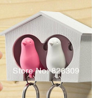 Wholesale Sparrow Key Ring with Birdhouse Keychain Gadget for Home Decoration