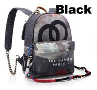 achat en gros de zig zag imprimé-Graffiti Printed Canvas Sac à dos en corde brodé avec sac à dos multicolore imprimé toile sac à dos