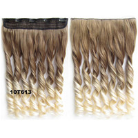 Wholesale Hot sale clip in hairpieces on wavy curl ombre synthetic heat resistance ombre hair extension dip dye clips hairpieces colors