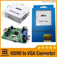 Vente en gros Mini HDMI à VGA convertisseur vidéo convertisseur avec port de sortie audio pour ordinateur DVD avec boîte de vente au détail Livraison gratuite