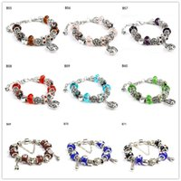 Wholesale Hollow lettering Tibetan silver glass beads Charm Bracelet brand new women s DIY European Beads bracelet pieces a mixed style GTPDB7
