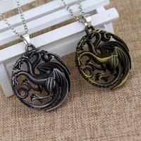 al por mayor dragón aviva-Juego de tronos Daenerys Targaryen tres dirigió el regalo pendiente del collar de la aleación del dragón para la joyería de la película de los ventiladores Envío libre
