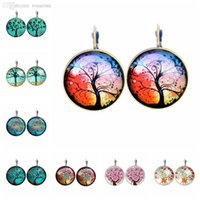 Cheap Wholesale-Fashion New 2015 Life Wisdom Tree Stud Pendientes Earring For Women Glass Cabachon Brincos Perola Art Photo Dome Round Earrings