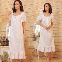 Wholesale 2016 Brand Sleep Lounge Women Sleepwear Cotton Nightgowns Sexy Long Robe Home Dress White Nightdress Plus Size P5