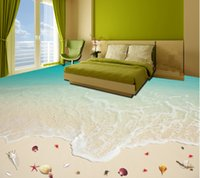 beach house bedrooms - Custom mural wallpaper D stereo waterproof floor living room bathroom kitchen PVC Shell Beach mural wallpaper self adhesive floor bag mail
