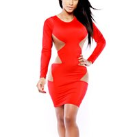 apparel cutting - Sexy Sides Cut Out Dress Exotic Apparel Round Neck Long Sleeve Slim Vestidos Bandage Bodycon Dress for Women Costume W84416
