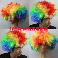 afro world hair - World Cup Rainbow Afro wigs Clown Child Adult Colorful Party Masquerade costume Wigs Halloween Chrismas Explosion Head Ball Fans Wig Hair