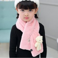 Wholesale Scarfs Bear For Kids - 2016 Autumn Winter Children Faux Rabbit Fur Scarf Wraps Warm Soft Scarves Solid Colors Cross Neckerchief For Boys Girls Kids With Bear Toy