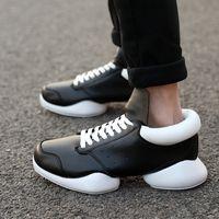 b mat - New Rick Owen Unisex Shoes Fashion Leather Luxury Rick Mat Horse Lace Up Height Increasing Horse heel shoe Zapatos Bambas Hombre