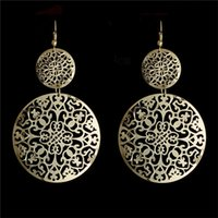 Wholesale Bohemia Style pair K Gold Plated Hollow Round Dangle Earrings Colors For Women