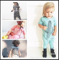 Wholesale 8pcs girls Jumpsuit kids clothes children clothing cactus long sleeve boys Romper mix color hight quality