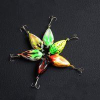 Buen 6 Color 4cm 6g Mocrux 3D ojo pesca señuelo Colorido rana dura cebo Sharp Hook Tackle topwater Pesca Señuelos Tackle Bait Ganchos