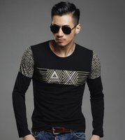 high end clothing - High end men s T shirt brand men s winter new hot drilling O neck printed cotton long sleeved T shirt men s clothing casual fashion selling