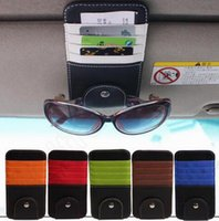 automobile visor - PU Leather Car Visor Glasses Clip Documents Folder Card Holder Multifunctional Storage Bag Cip Automobiles Car Organizer QQA288