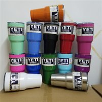 Wholesale 14Colors Beer Mugs oz Yeti Cup Stainless Steel Yeti Rambler YETI Coolers Rambler Tumbler Double Walled Travel Mug By DHL