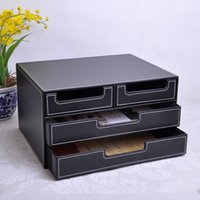 Wholesale 3 layer drawer wood structure leather desk filing cabinet storage box office organizer document container black A