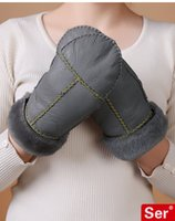 Wholesale Handmade Sheepskin Wool Fur Gloves Real Leather Winter Genuine Thick Mittens Women Snow Windproof Black Red Beige Grey