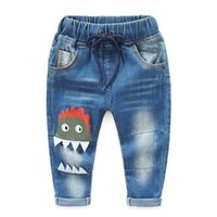 Wholesale 2016 kids clothes kids clothing boys clothing boys clothes autumn boy children cartoon printing solid color washed denim trousers