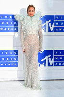 Wholesale Beyonce Angel Wings Dress MTV VMAs Long Sleeves Feather Beading Floor Length High Neck Tulle Celebrity Dresses Formal Prom Party Gown