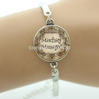 beads quotes - Trendy Case For Harry Mischief Managed Quote bracelet Glass cabochon Dome Art charm bracelet vintage G047