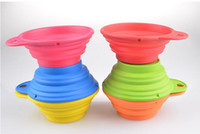 Wholesale Pet Dog bowl Floding Silicone Frisbee Collapsible Feeding Water Feeder Travel Bowl Dish Cats bowl Dog Supplies Colors