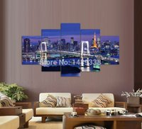 Город Ночь и Мост 5 Панели / Set Large HD Picture Печать холст Картина Картина Стена Декоративная картина маслом