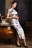 Wholesale 8654 mulberry silk silk double banners a robe modified retro China Wind Borghese cheongsam manufacturers selling long silk painting Chiffon
