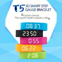 auto steps - New Arrival T5 Smart Bracelet Step All Day D Pedometer Wristwatch Fashion Sport Smartband LED Auto Date Watches