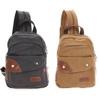 Wholesale USA Stock Casual Backpack Men s Vintage Canvas Leather Backpack Shoulder Sling Cycling Chest Crossbody Bag Shoulder Bag Outdoor Ba