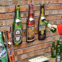 Wholesale Creative American Vintage Style Beer Bottle Opener Iron Can Opener Creative Bar Home Wall Decor Creative Wall hanger