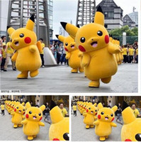 Wholesale Lovely Yellow Pikachu Mascot Costume Fancy Dress Outfit Cartoon Costume Jumpsuit Halloween Costume
