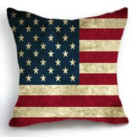 Wholesale 45CM Cushion Cover Pillow Case Throw Home Sofa Decorative Retro USA Flag Stars And Sripes
