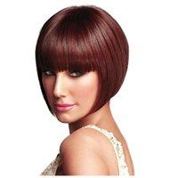 Les brunes France-Les perruques synthétiques de Popular Brown Perruques Lady Mode perruque courte BOBO perruque de cheveux 1pcs livraison gratuite