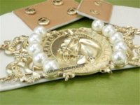 al por mayor elástica ancha barato-caballo de oro marca con Royal barroco de la perla del adorno de la correa elástico de la manera correa ancha de envío libre caja de lente de contacto de la moda barato