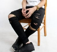 Wholesale new famous brand men Ripped Biker Jeans Motorcycle Skinny Slim Fit Black Hip Hop fashion Denim Pants Destroyed swag Joggers trousers