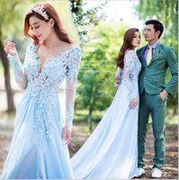 ankle strain - 2016 Beautiful Full sleeve evening dress A Line Lace Appliques counrt strain prom dress party gowns
