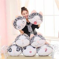 Wholesale 6 Design cm cm Cushion Lovely Cat Emoji Pillows Cartoon Facial Cat Expression Cushion Pillows Round Stuffed Plush Toy LA314