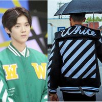 Wholesale Mens Off White Official High Quality Hip Hop Jacket High Quality New Fashion EXO Splice Skateboard Baseball Jackets
