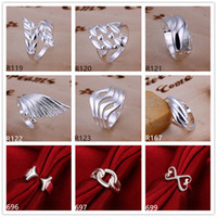 Wholesale Brand new high grade sterling silver ring pieces mixed style fashion silver ring GTR4 factory direct sale