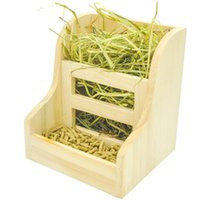 Wholesale Grass and Food Double Use Feeder Wooden Hay Manger for Rabbits Guinea Pigs