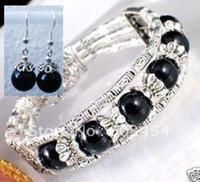Wholesale Incredibly beautiful handmade Tibet Tibetan silver balck jade bracelet earrings Jewelry set