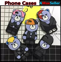 bearing protectors - Fashion Cartoon Cute Bear G Dragon Phone Cases For iphone s plus Silicone Rubber Soft Back Cover Shockproof Protector Shell Skin