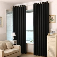 Wholesale 2016 High Quality Polyester Fabric Curtains Solid Color Window Curtains Black Red Blackout Luxury Draperies