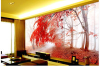 autumn wallpaper pictures - 3d wallpaper custom photo non woven mural wall sticker d Dream autumn Red maple s wood painting picture d wall room murals wallpaper