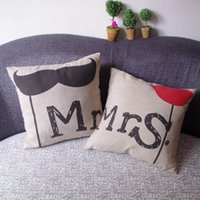 Wholesale Mr and Mrs Creative pillow case valentine s day pillow car cushion pillow Excluding Pillow One Set of piece